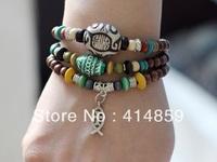402 Handmade brown beads bracelet Jesus fish with beads Triple wrap around Christian bracelet Religious jewelry Birthday gift