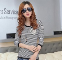 L0444, free drop shipping Women Slim striped round neck long-sleeved t-shirt