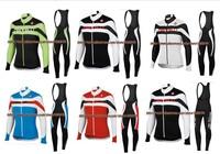 5 colour sports wear! 2014 Castelli Winter Thermal Fleece Cycling Jersey Long Sleeve and bicicleta bib Pants/ triathlon ciclismo
