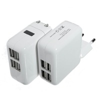 Universal 4 USB Ports US/EU Plug Home Travel Wall AC Power Charger Adapter For Samsung Galaxy S4 S3 iphone 4 5S 5C ipad 2/3 Mini