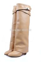 A signature metal shark-lock fold-over pant leg must-have design in luxurious calfskin Hidden wedges women Boots 34-42