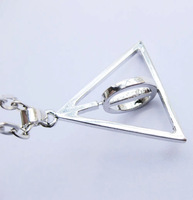 Free Shipping Fashion Harry Potter  Deathly Hallows Necklaces Middle Resurrection Stone Can Be Rotated Necklaces Pendants
