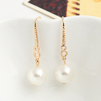 2014 new 18k Gold Filled Inlaying pearl big earrings e9612