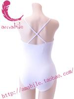 Ballet dance leotard white spaghetti strap adult al0999 coverall