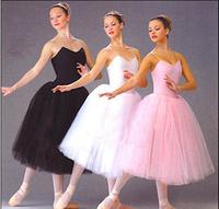 Adult ballet one-piece dress dance leotard long design one-piece dress spaghetti strap puff skirt
