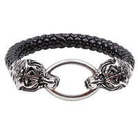 Personalized Men's Tiger Bracelets Titanium Steel Jewelry Braided Leather Wristbands Health Care LB074