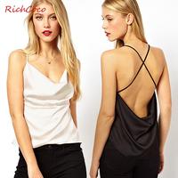 2014 new fashion sexy Richcoco casual loose strapless racerback cross spaghetti strap chiffon vest d276