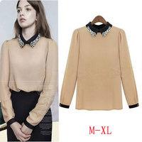 Free Shipping European Style Beading Long Sleeve Peter Pan Collar Chiffon Blouses For Women Fashion Chiffon Shirt 8082# M-XL