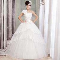 2014 Newest Arrival Sweet Princess One Shoulder Spaghetti Flower Strap Wedding Dress