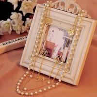 Wholesale new 2014 bohemian fashion brand bead pearl choker pendant necklace rose long design body collar chain women jewelry