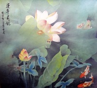 """19wx19h""""Stunning famous signed Watercolor painting-fengshui koi fishes,lotus"""