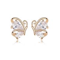 Gold Filled Earrings Cubic Zircon Stud Earrings Fashion 2014 Free Shipping  CZ Diamond Accessories Charm  Bijoux For Women