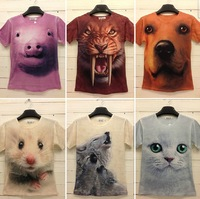 Size M-XL 20 Colors 2014 New Summer Fashion Men's Printed Animal 3D Printed Cotton T-shirts Free Shipping 3D007