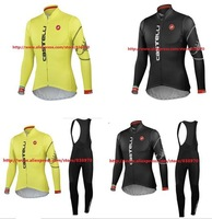 2 colour sport maillot ! 2013 Castelli Cycling Jersey bicicleta Long sleeve and bicycle bib Pants  / ropa ciclismo /clothing set
