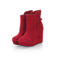 2013 fashion senior velvet platform wedge boots side zipper high-heeled boots