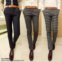 Quality Fashion male casual pants fashion plaid casual pants straight casual pants slim Fashion trousers