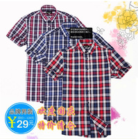 Male business casual british style plaid shirt 7 short-sleeve shirt male