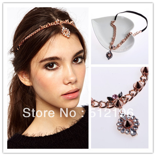 AHO174, Free Shipping! 10pcs/lot, Gem Jewelled Head Piece Chunky Head Chain Spiked Crystal Stretch Headband(China (Mainland))
