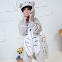 Free shipping Flannel animal totoro one piece sleepwear long-sleeve cartoon family lounge fashion male thickening winter