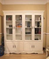 Beech bookcase door glass door fashion american style furniture quality rustic wood furniture