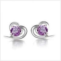 Fashion 925 pure silver stud earring heart amethyst stud earring accessories female stud earring earrings earring