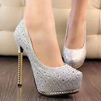 Brand New Fashion Women Punk Studded High Heels Shoes Rhinestone Wedding Footwear 2014 Ladies Platform Pumps More Colors DM004