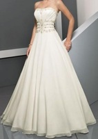 New White/ivory Bridal Gown Chiffon Beading A Line Simple Wedding Dress Free Shipping