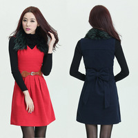 2014 new Design vest dress women worsted sleeveless dresses for woman with blet and Fur collar