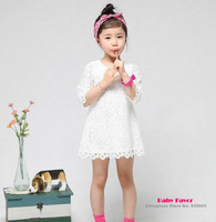 Free Shipping 1Pc Kids Baby Girl Toddler Infant Children Hollow Lace Princess White Top Dress Clothes Party  0-6 Years
