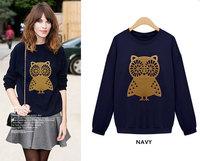 ZR** 2014 New Loose Pullovers Hoodies Women Owl Printed Long Sleeve Sweatshirts Animal Sweater Tops Free Shipping