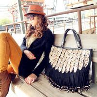 free shipping 2013 peacock tail leopard print decoration tassel bag rivet bag handbag messnger bag Ladies handbags