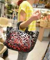 2014 new brand fashion handbags hollow, hit color PU women leather handbag, personality Totem Design totes Wholesale
