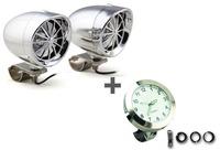 "White 3"" Speaker Amplifier & Bluetooth+White Motorcycle Handlebar Clock Glow in Dark"