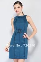 2014 women's fashion basic slim hip slim thick woolen one-piece dress