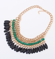 2014 Rushed Free Shipping! Fashion Different Colorful Beads Necklaces Plated Chain Statement Necklace Women Jewelry-2pc A Lot