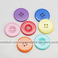 Resin Buttons,  Dyed,  Flat Round,  Mixed Color,  25x3mm,  Hole: 2mm