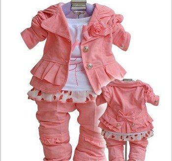 Toddlers' Autumn 3PCS Set Outerwear+Футболка+Брюки/Hot Розовый Girls' CloТонкийg ...