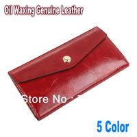 Oil Waxing Genuine Leather Designer Wallet Women's Wallets Ladies Money Clip Clutch Organizer Wallets Purse