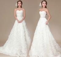 Free Shipping 2014 quality luxury sparkling diamond three-dimensional rose long trailing wedding dress tube top bandage