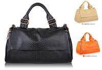 Free shipping All match style women snake skin genuine leather handbag cow leather tote handbag high quality leather handbag