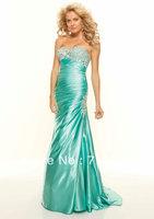 Classic Elegant Formal Long Satin beaded Crystle 2014 New Fashion Prom Dresses Lilac Mint Green Orange
