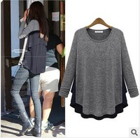 brand blouse fashion wear plus big size women blouse shirts inside jersey outside chiffon Free Shipping 2014 DM132500