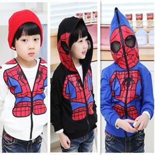 New Kids Spiderman Coat Boys Hoodies Girls Full Zipper Mask Jacket Size 3 8 Year(China (Mainland))