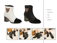 Free shipping crude Martin boots with decorative tip leopard skull head mixed colors plus cotton thick with female boots
