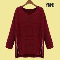 Female autumn outerwear fashion medium-long pullover knitted basic shirt batwing loose sweater shirt female