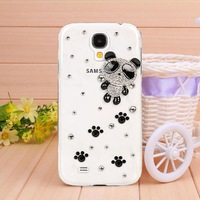 New arrive Transparent shell diamond panda case for Samsung galaxy S4 case for I9500 Mobile Border Protection free shipping