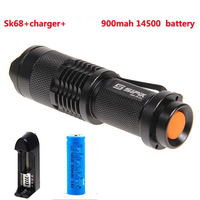 Black Color SIPIK SK68-1 3W 1-Mode LED Flashlight Linternas+ Ultrafire 14500 Battery+Battery Charger +Free Shipping