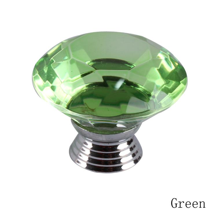 40mm Diamond Shape Clear Crystal Sparkle Glass Kitchen Cabinet Knobs Furniture Wardrobe Dresser Cupboard Door Knobs 05335-GR(China (Mainland))