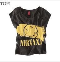 New Women Fashion Casual Nirvana Smile FacePrint Short T shirt, black, KB374