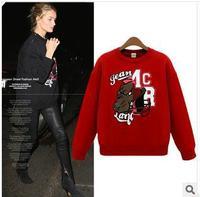 brand designer spring style hot cartoon print red black sport suit women women hoodie Free Shipping 2014 DM132516